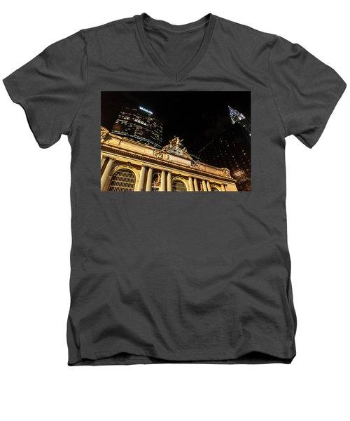 Grand Central Nocturne Men's V-Neck T-Shirt by Steven Richman