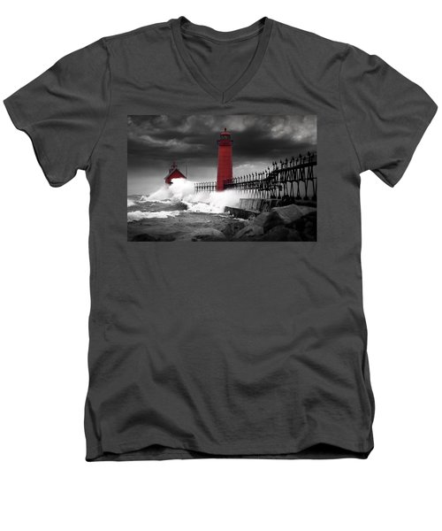 Grand Haven Lighthouse In A Rain Storm Men's V-Neck T-Shirt