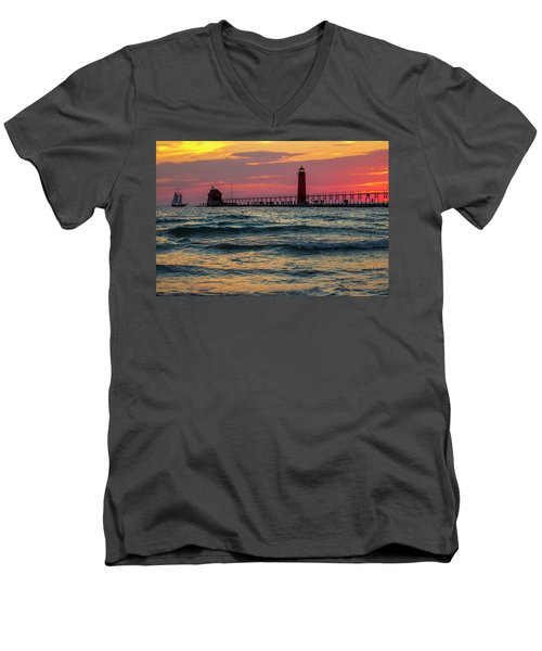Grand Haven Pier Sail Men's V-Neck T-Shirt