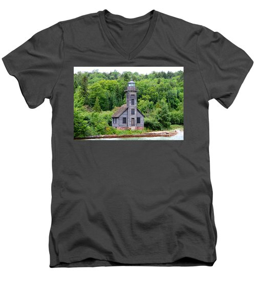 Men's V-Neck T-Shirt featuring the photograph Grand Island East Channel Lighthouse #6549 by Mark J Seefeldt
