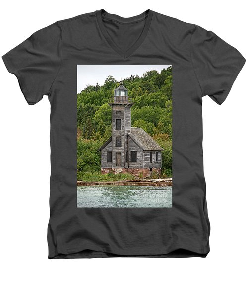 Men's V-Neck T-Shirt featuring the photograph Grand Island East Channel Lighthouse #6664 by Mark J Seefeldt