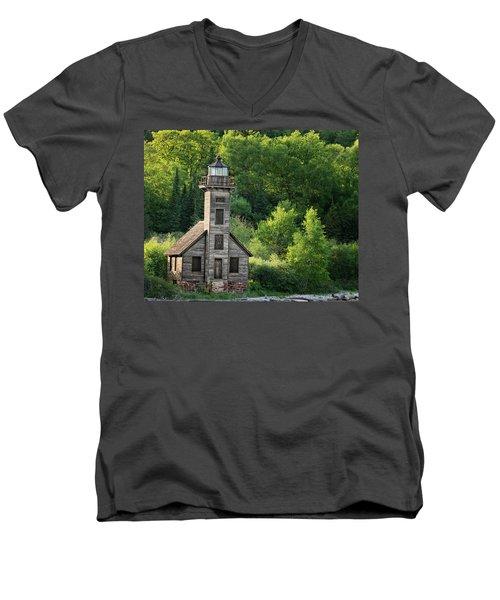 Grand Island Light House In Spring Men's V-Neck T-Shirt