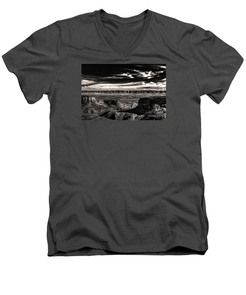 Men's V-Neck T-Shirt featuring the digital art Grand Junction In The Valley Below   by William Fields