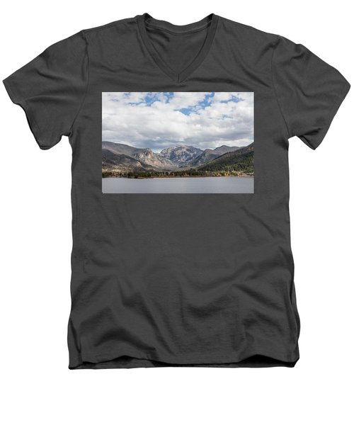 Men's V-Neck T-Shirt featuring the photograph Grand Lake -- Largest Body Of Water In Colorado by Carol M Highsmith