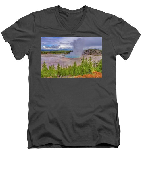 Grand Prismatic Spring Overlook Yellowstone Men's V-Neck T-Shirt