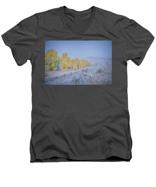 Grand Teton Fall Snowfall Scene Men's V-Neck T-Shirt