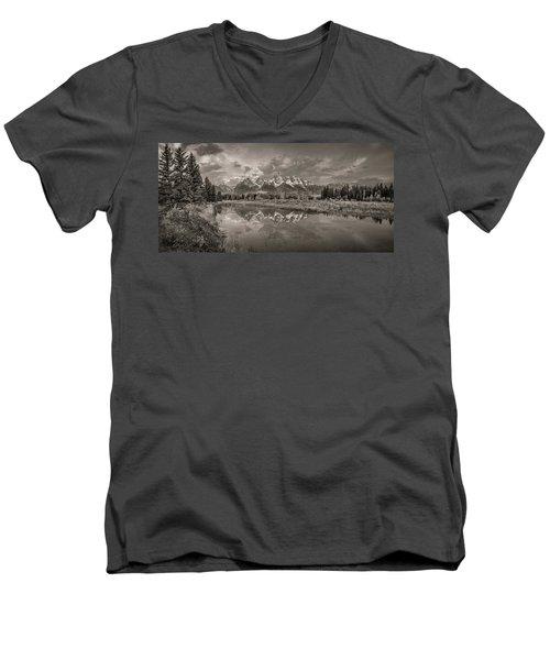 Grand Teton Monochromatic Panoramic Men's V-Neck T-Shirt