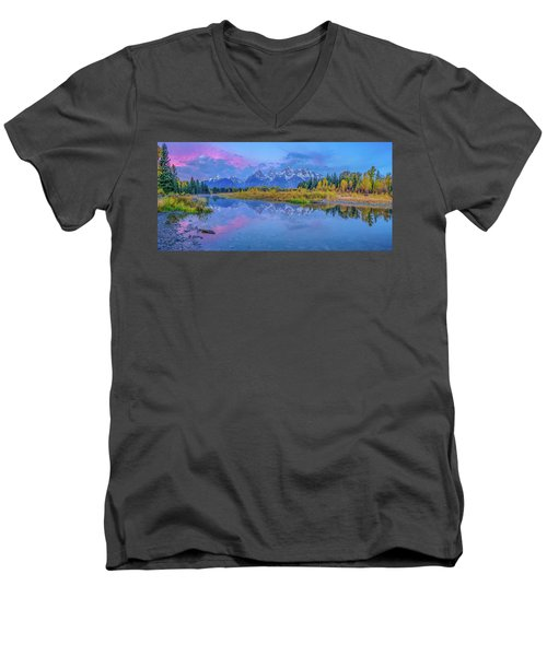 Grand Teton Sunrise Panoramic Men's V-Neck T-Shirt
