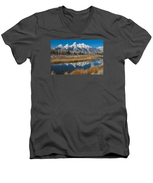 Men's V-Neck T-Shirt featuring the photograph Grand Tetons by Gary Lengyel