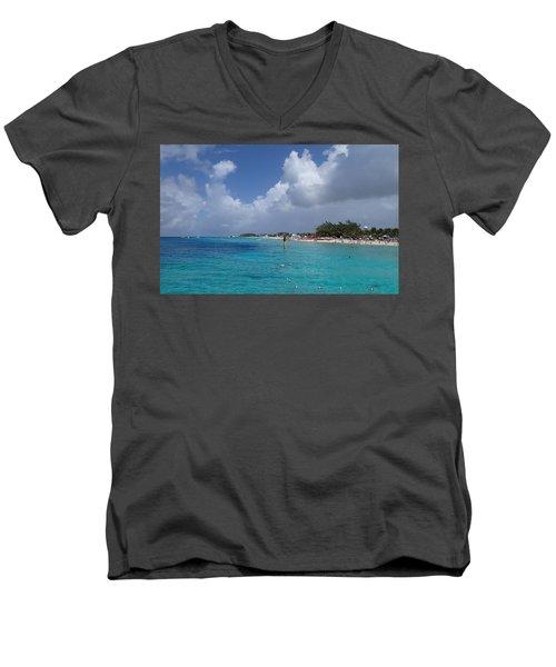Grand Turk Beach Men's V-Neck T-Shirt by Lois Lepisto