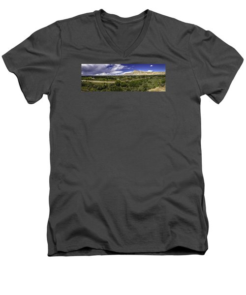 Grand Valley Panoramic Men's V-Neck T-Shirt by Teri Virbickis