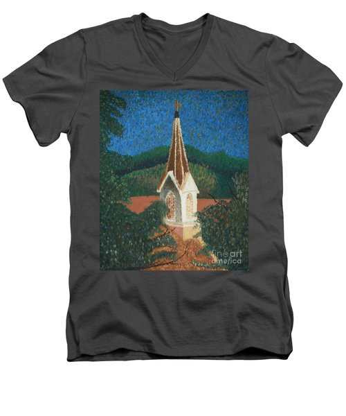 Men's V-Neck T-Shirt featuring the painting Grandmas Church by Jacqueline Athmann
