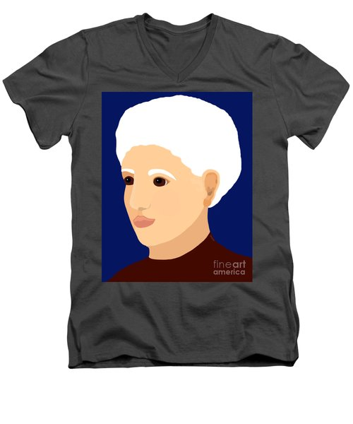 Men's V-Neck T-Shirt featuring the painting Grandmother by Marian Cates