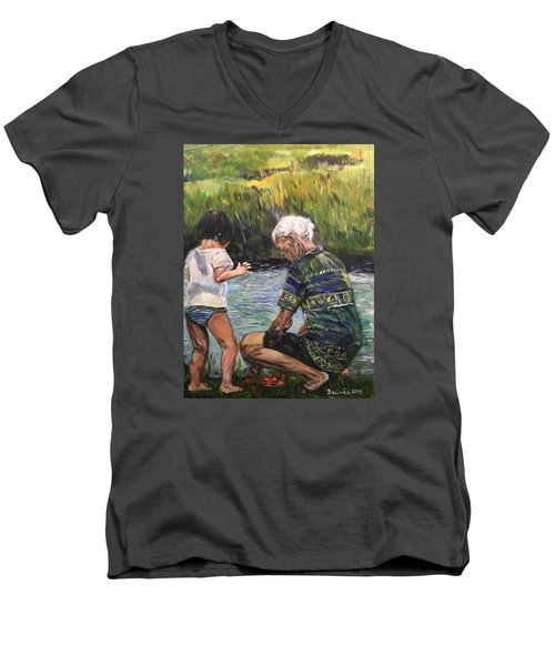 Men's V-Neck T-Shirt featuring the painting Grandpa And I by Belinda Low