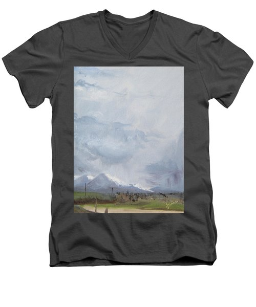 Men's V-Neck T-Shirt featuring the painting Grantsville Skies by Jane Autry
