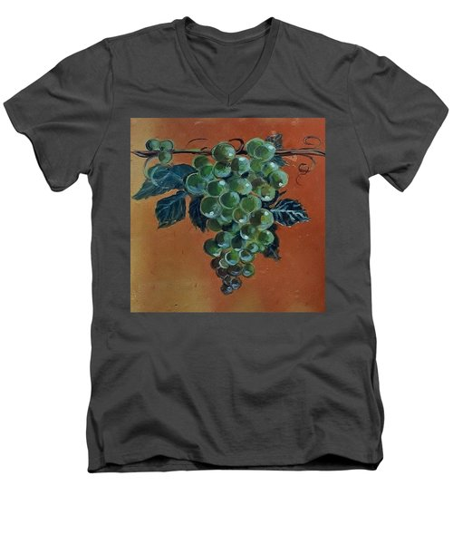 Grape Men's V-Neck T-Shirt by Andrew Drozdowicz