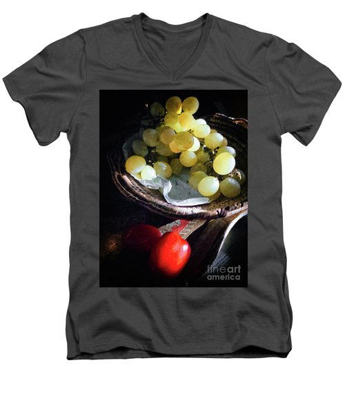 Men's V-Neck T-Shirt featuring the photograph Grapes And Tomatoes by Silvia Ganora