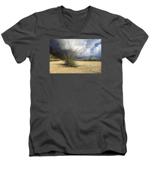Grass Growing Out Of Crack In Tarmac Men's V-Neck T-Shirt by Perry Van Munster
