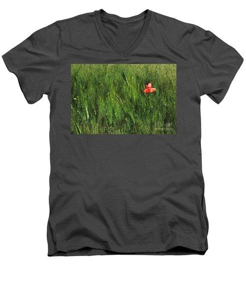 Grassland And Red Poppy Flower 2 Men's V-Neck T-Shirt by Jean Bernard Roussilhe