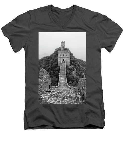 Men's V-Neck T-Shirt featuring the photograph Great Wall 1, Jinshanling, 2016 by Hitendra SINKAR