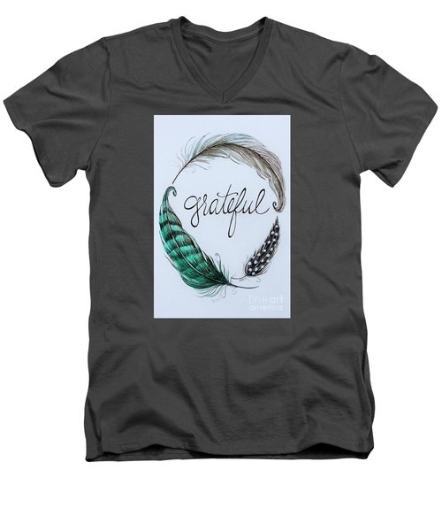 Men's V-Neck T-Shirt featuring the painting Grateful by Elizabeth Robinette Tyndall