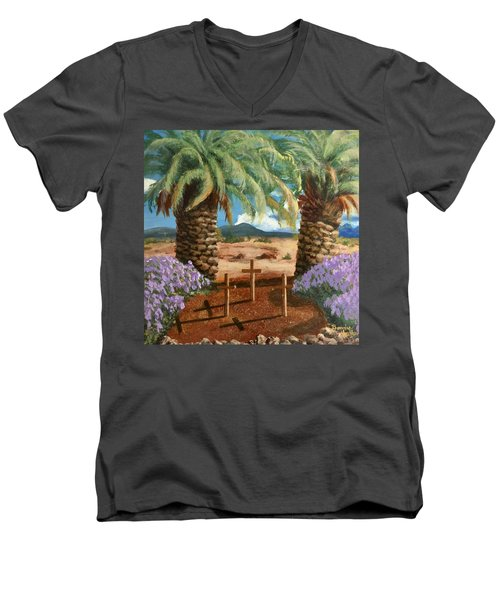 Men's V-Neck T-Shirt featuring the painting Gratitude Reminder  by Bonnie Heather