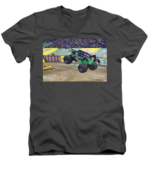 Grave Digger  Men's V-Neck T-Shirt by Michael Rucker