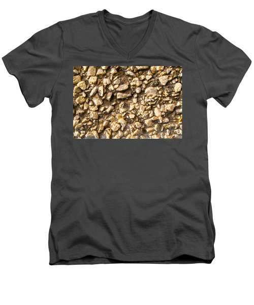 Men's V-Neck T-Shirt featuring the photograph Gravel Stones On A Wall by John Williams