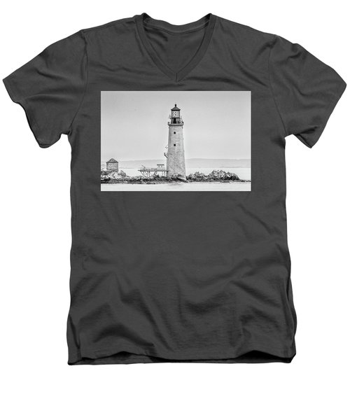 Men's V-Neck T-Shirt featuring the photograph Graves Lighthouse- Boston, Ma - Black And White by Peter Ciro