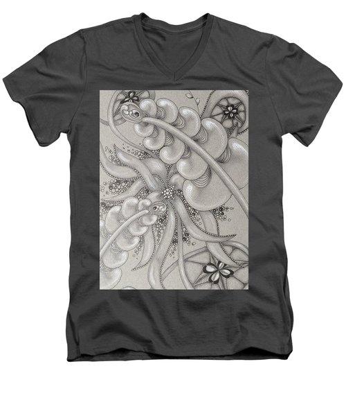 Gray Garden Explosion Men's V-Neck T-Shirt by Jan Steinle