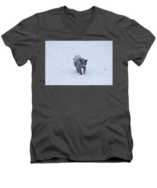 Gray On White Men's V-Neck T-Shirt