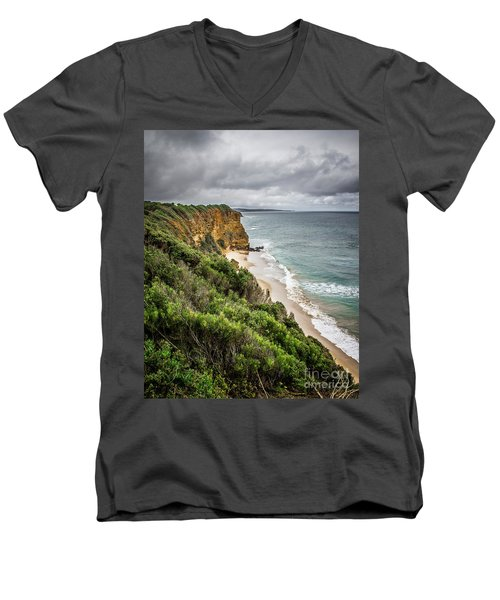 Men's V-Neck T-Shirt featuring the photograph Gray Skies by Perry Webster
