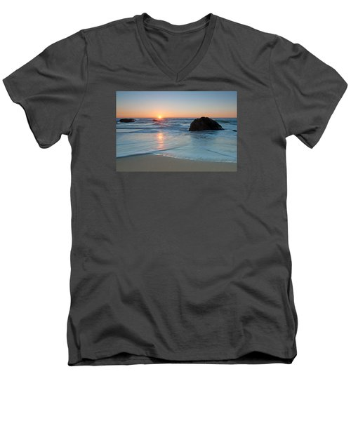 Gray Whale Cove State Beach 2 Men's V-Neck T-Shirt by Catherine Lau