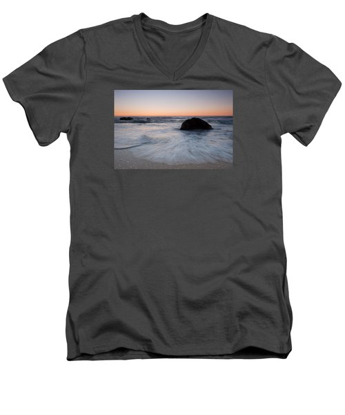 Gray Whale Cove State Beach Men's V-Neck T-Shirt by Catherine Lau