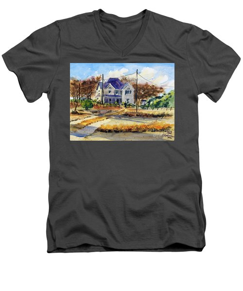 Grayson County Farmhouse Men's V-Neck T-Shirt by Ron Stephens