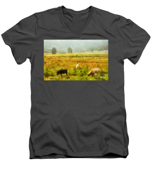 Men's V-Neck T-Shirt featuring the painting Grazing by Elizabeth Coats