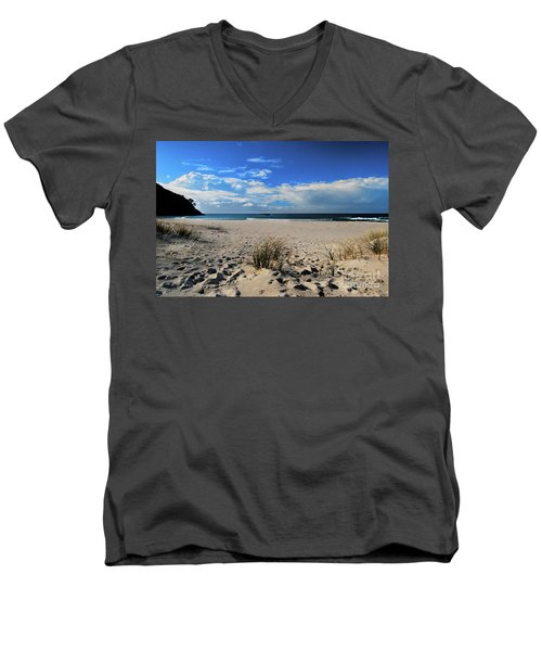 Great Barrier Island Men's V-Neck T-Shirt by Karen Lewis