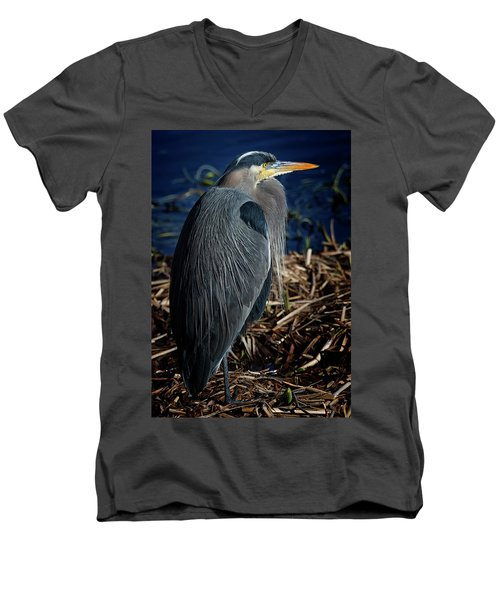 Men's V-Neck T-Shirt featuring the photograph Great Blue Heron 2 by Randy Hall