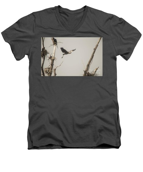 Men's V-Neck T-Shirt featuring the photograph Great Blue Heron - 6 by David Bearden