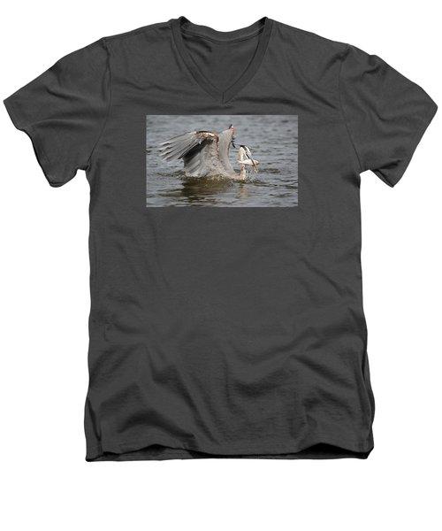 Great Blue Heron And Fish Men's V-Neck T-Shirt