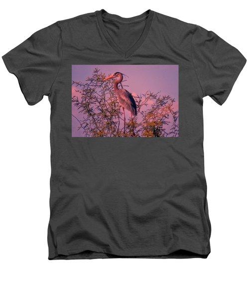 Great Blue Heron - Artistic 6 Men's V-Neck T-Shirt