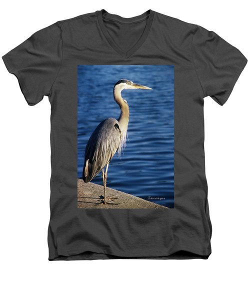 Men's V-Neck T-Shirt featuring the photograph Great Blue Heron At Put-in-bay by Terri Harper