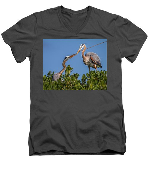 Great Blue Heron Nest Building Men's V-Neck T-Shirt