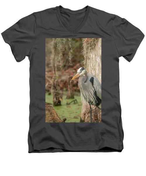Great Blue Heron On Guard Men's V-Neck T-Shirt
