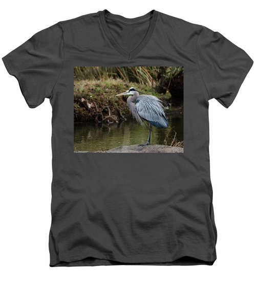 Great Blue Heron On The Watch Men's V-Neck T-Shirt by George Randy Bass