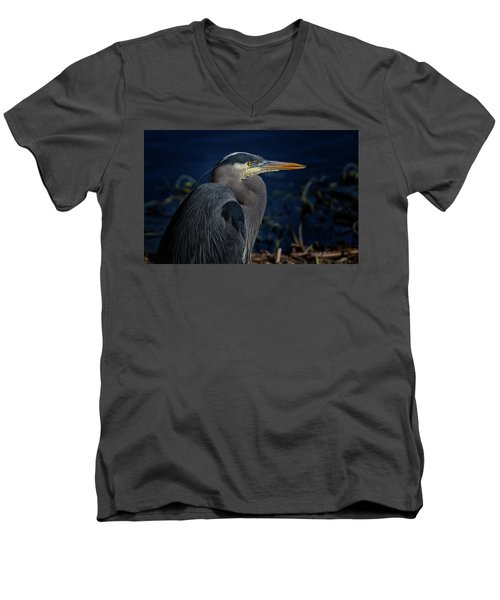 Men's V-Neck T-Shirt featuring the photograph Great Blue Heron by Randy Hall
