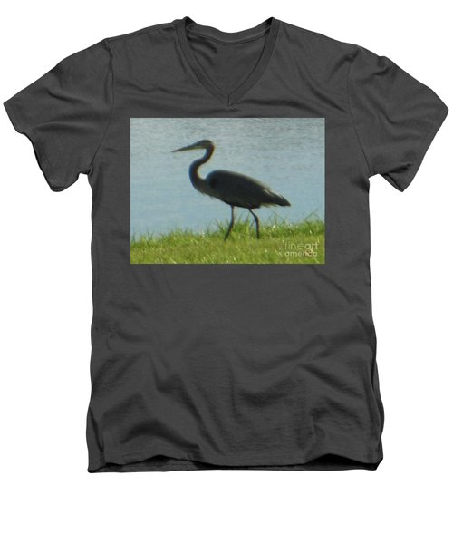 Men's V-Neck T-Shirt featuring the photograph Great Blue Heron by Rockin Docks Deluxephotos