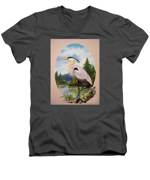 Flying Lamb Productions                 Great Blue Heron Men's V-Neck T-Shirt