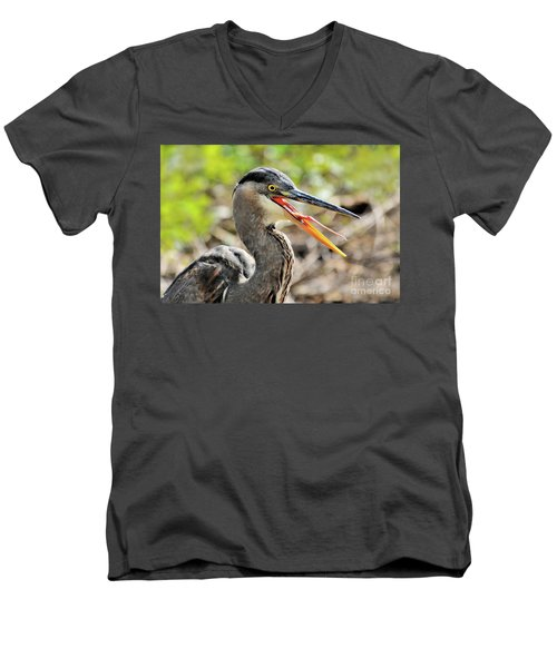 Great Blue Heron Tongue Men's V-Neck T-Shirt by Debbie Stahre