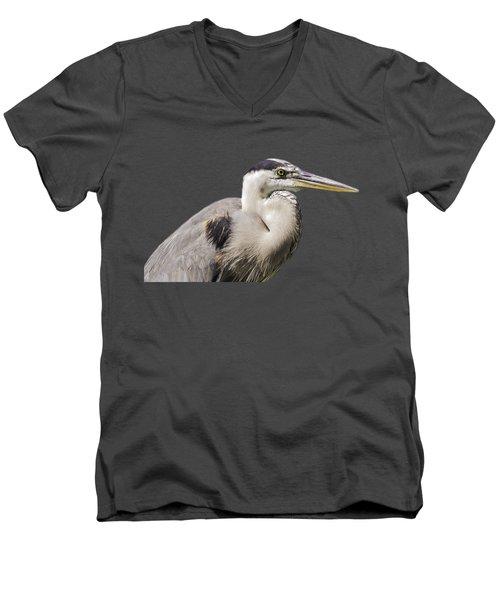 Great Blue Heron Transparency Men's V-Neck T-Shirt